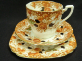 Wellington china rust floral tea trio